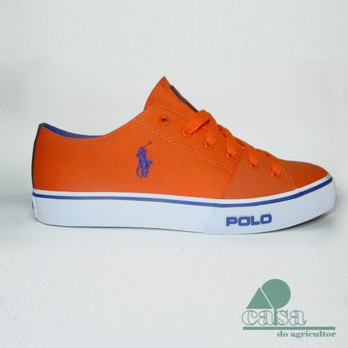 Ténis Cantor Low-Ne Canvas Ralph Lauren Laranja