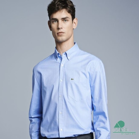 Camisa Lacoste Oxford Regular Fit Azul CH3219-J8
