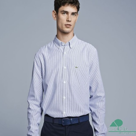 Camisa Lacoste Oxford Regular Fit Riscas Azuis CH3186-P3