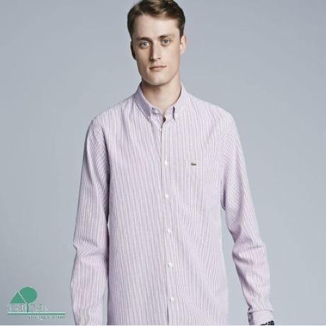Camisa Lacoste Oxford Regular Fit Riscas Bordaux CH3186-EY