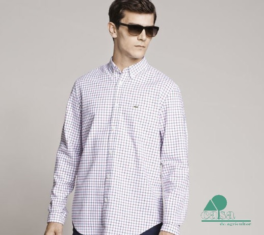 Camisa Lacoste Oxford Regular Fit Quadrados Bordaux CH3220-EZ